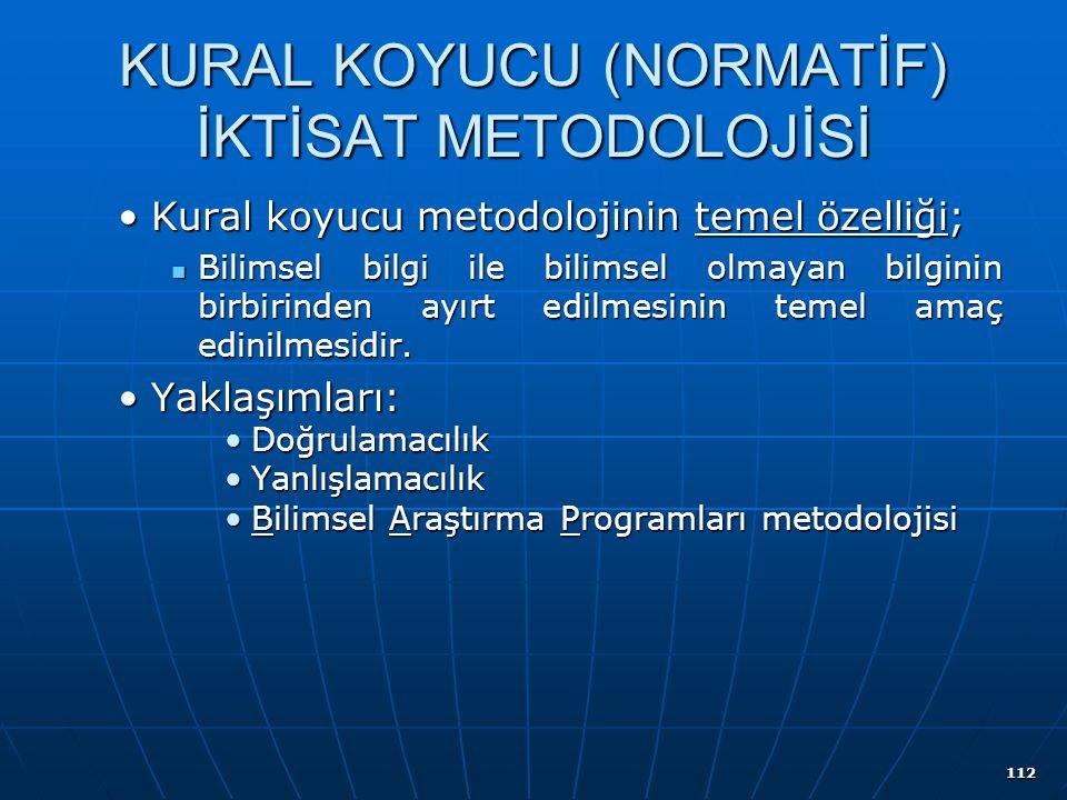 112 KURAL KOYUCU (NORMATİF) İKTİSAT METODOLOJİSİ Kural koyucu metodolojinin temel özelliği;Kural koyucu metodolojinin temel özelliği; Bilimsel bilgi i