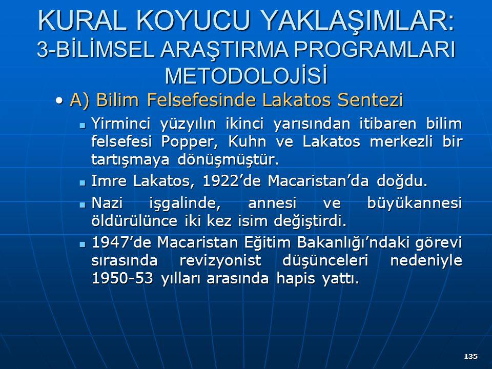 135 KURAL KOYUCU YAKLAŞIMLAR: 3-BİLİMSEL ARAŞTIRMA PROGRAMLARI METODOLOJİSİ A) Bilim Felsefesinde Lakatos SenteziA) Bilim Felsefesinde Lakatos Sentezi