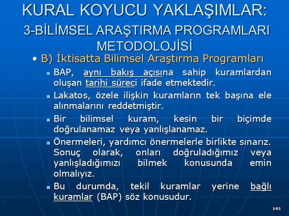 143 KURAL KOYUCU YAKLAŞIMLAR: 3-BİLİMSEL ARAŞTIRMA PROGRAMLARI METODOLOJİSİ B) İktisatta Bilimsel Araştırma ProgramlarıB) İktisatta Bilimsel Araştırma