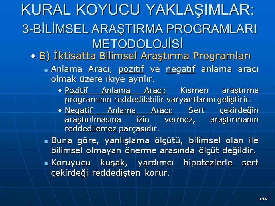 146 KURAL KOYUCU YAKLAŞIMLAR: 3-BİLİMSEL ARAŞTIRMA PROGRAMLARI METODOLOJİSİ B) İktisatta Bilimsel Araştırma ProgramlarıB) İktisatta Bilimsel Araştırma