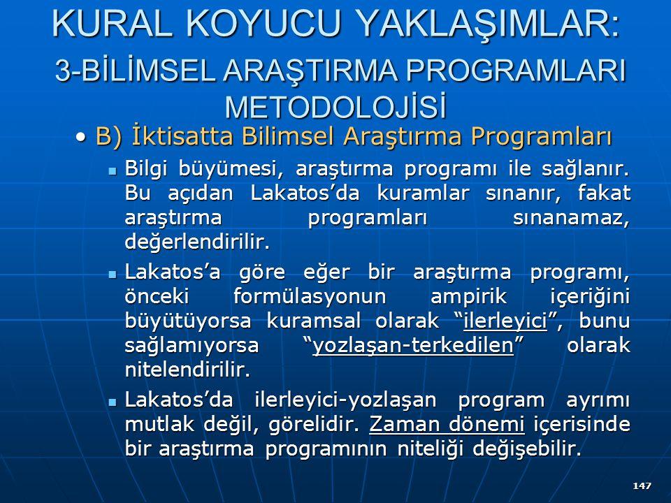 147 KURAL KOYUCU YAKLAŞIMLAR: 3-BİLİMSEL ARAŞTIRMA PROGRAMLARI METODOLOJİSİ B) İktisatta Bilimsel Araştırma ProgramlarıB) İktisatta Bilimsel Araştırma