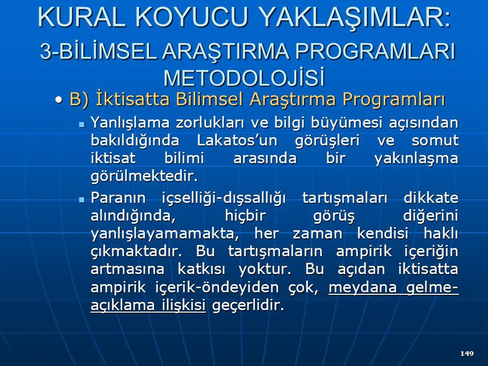 149 KURAL KOYUCU YAKLAŞIMLAR: 3-BİLİMSEL ARAŞTIRMA PROGRAMLARI METODOLOJİSİ B) İktisatta Bilimsel Araştırma ProgramlarıB) İktisatta Bilimsel Araştırma