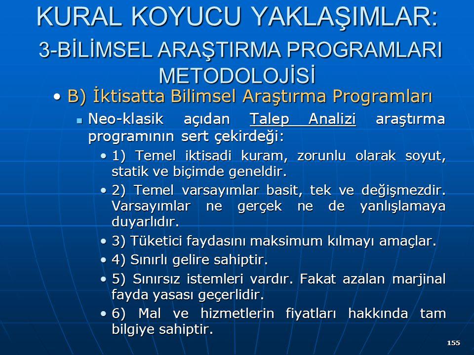 155 KURAL KOYUCU YAKLAŞIMLAR: 3-BİLİMSEL ARAŞTIRMA PROGRAMLARI METODOLOJİSİ B) İktisatta Bilimsel Araştırma ProgramlarıB) İktisatta Bilimsel Araştırma
