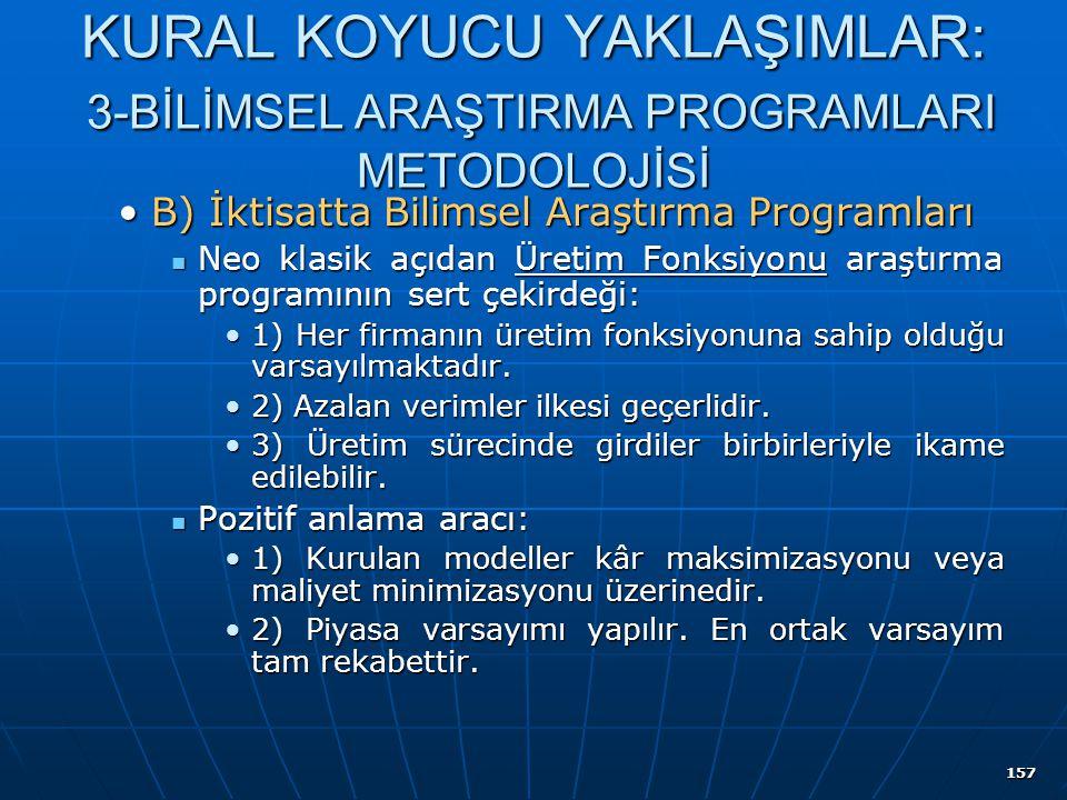 157 KURAL KOYUCU YAKLAŞIMLAR: 3-BİLİMSEL ARAŞTIRMA PROGRAMLARI METODOLOJİSİ B) İktisatta Bilimsel Araştırma ProgramlarıB) İktisatta Bilimsel Araştırma