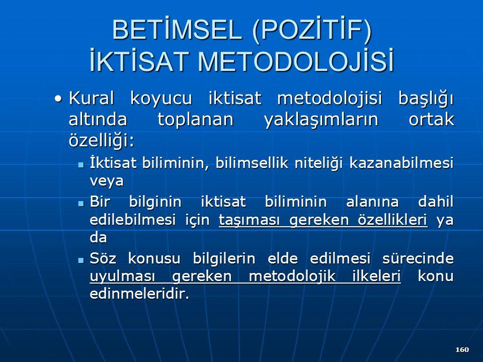 160 BETİMSEL (POZİTİF) İKTİSAT METODOLOJİSİ Kural koyucu iktisat metodolojisi başlığı altında toplanan yaklaşımların ortak özelliği:Kural koyucu iktis