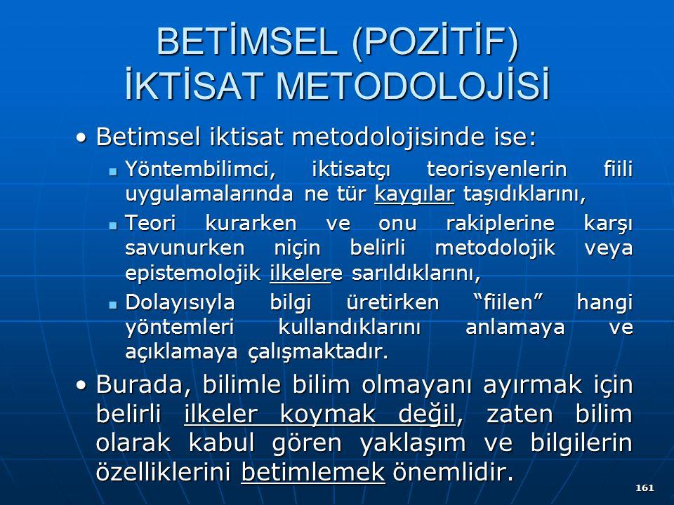 161 BETİMSEL (POZİTİF) İKTİSAT METODOLOJİSİ Betimsel iktisat metodolojisinde ise:Betimsel iktisat metodolojisinde ise: Yöntembilimci, iktisatçı teoris