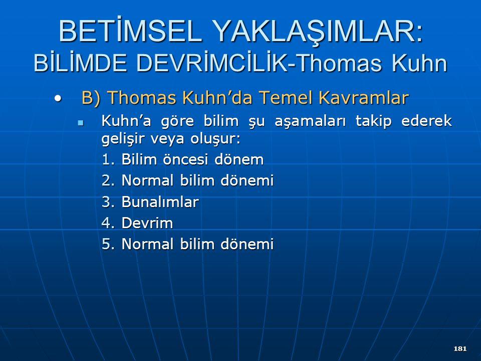 181 BETİMSEL YAKLAŞIMLAR: BİLİMDE DEVRİMCİLİK-Thomas Kuhn B) Thomas Kuhn'da Temel KavramlarB) Thomas Kuhn'da Temel Kavramlar Kuhn'a göre bilim şu aşam