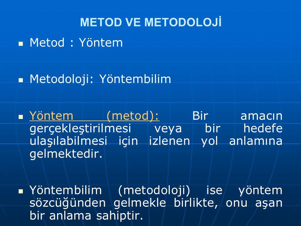 METOD VE METODOLOJİ Metod : Yöntem Metodoloji: Yöntembilim Yöntem (metod): Bir amacın gerçekleştirilmesi veya bir hedefe ulaşılabilmesi için izlenen y