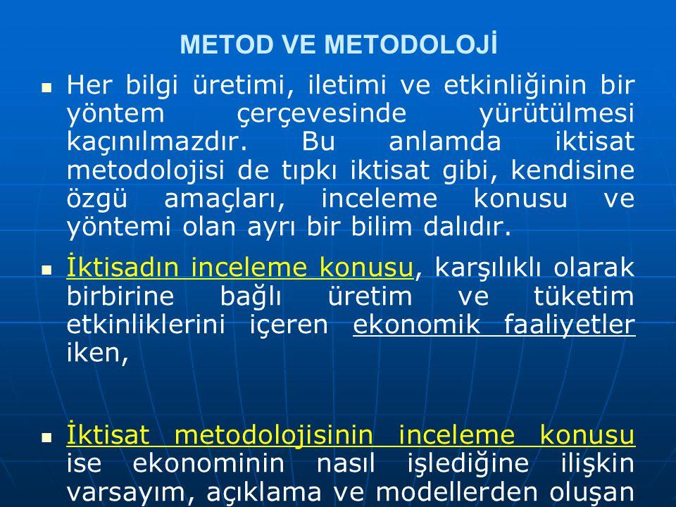 METOD VE METODOLOJİ Her bilgi üretimi, iletimi ve etkinliğinin bir yöntem çerçevesinde yürütülmesi kaçınılmazdır. Bu anlamda iktisat metodolojisi de t