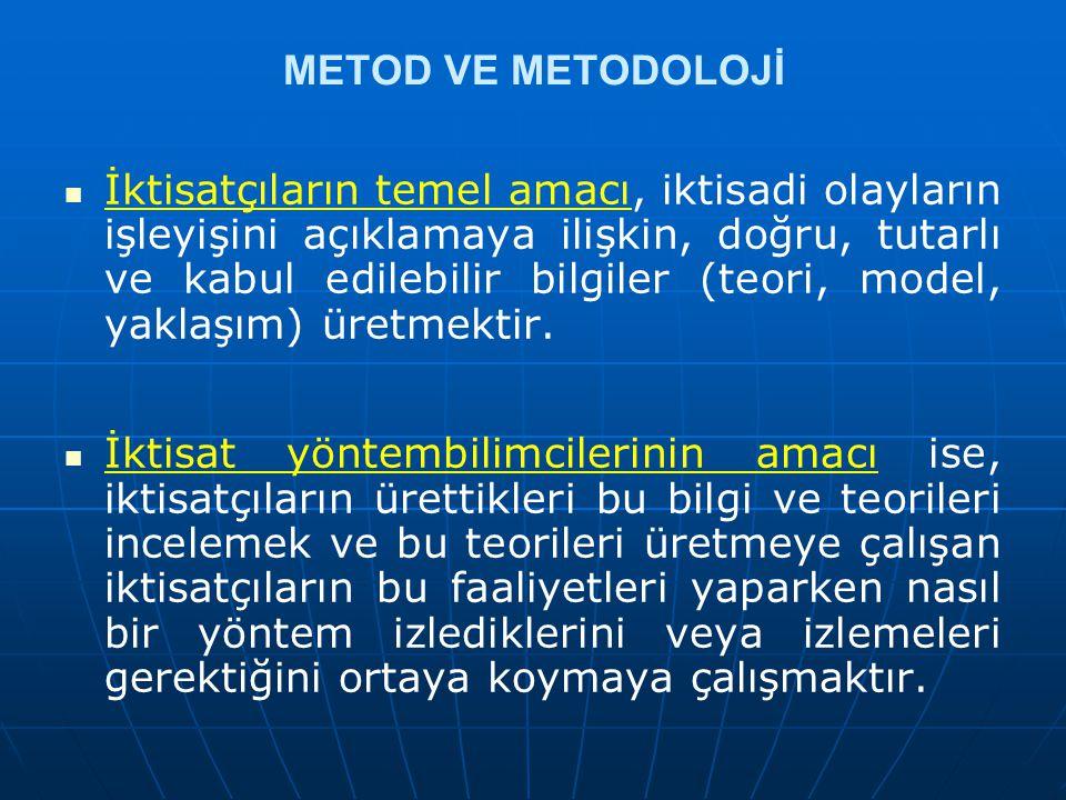 METOD VE METODOLOJİ İktisatçıların temel amacı, iktisadi olayların işleyişini açıklamaya ilişkin, doğru, tutarlı ve kabul edilebilir bilgiler (teori,