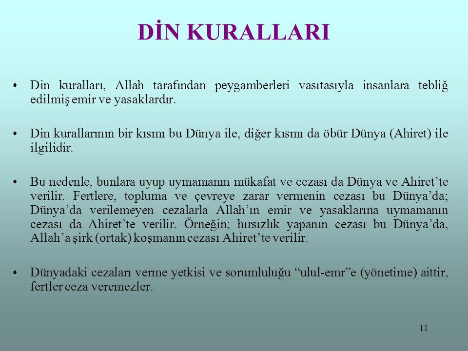 11 DİN KURALLARI Din kuralları, Allah tarafından peygamberleri vasıtasıyla insanlara tebliğ edilmiş emir ve yasaklardır. Din kurallarının bir kısmı bu