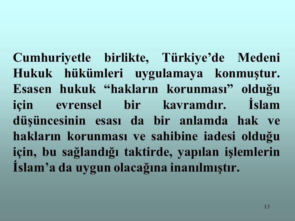 """13 Cumhuriyetle birlikte, Türkiye'de Medeni Hukuk hükümleri uygulamaya konmuştur. Esasen hukuk """"hakların korunması"""" olduğu için evrensel bir kavramdır"""