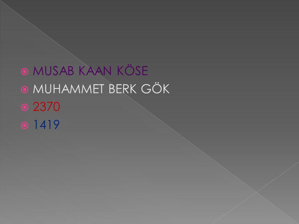  MUSAB KAAN KÖSE  MUHAMMET BERK GÖK  2370  1419