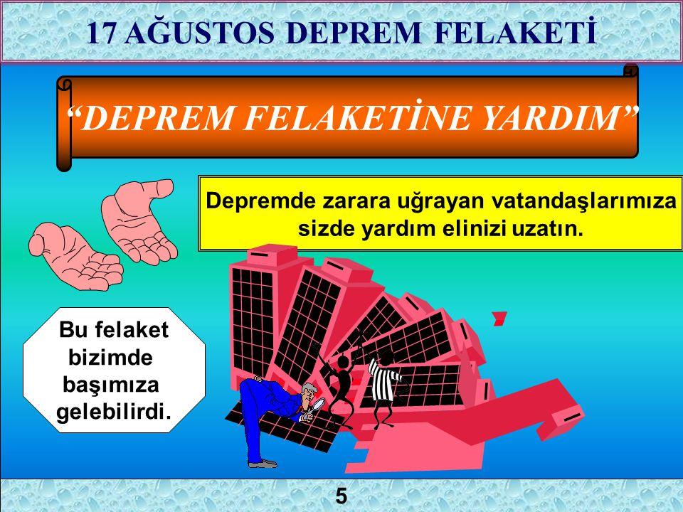 """""""DEPREM FELAKETİNE YARDIM"""" Depremde zarara uğrayan vatandaşlarımıza sizde yardım elinizi uzatın. Bu felaket bizimde başımıza gelebilirdi. 4 17 AĞUSTOS"""