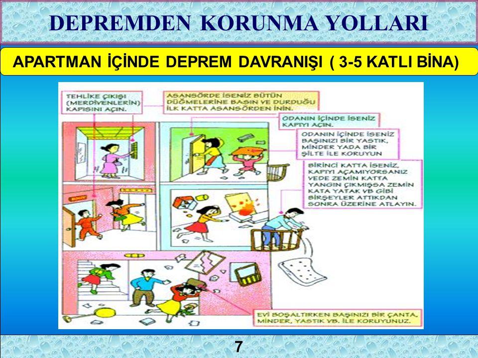 5 APARTMAN İÇİNDE DEPREM DAVRANIŞI ( 3-5 KATLI BİNA) DEPREMDEN KORUNMA YOLLARI 7