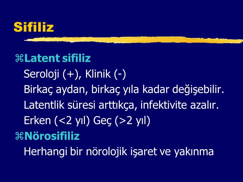 Sifiliz zLatent sifiliz Seroloji (+), Klinik (-) Birkaç aydan, birkaç yıla kadar değişebilir.
