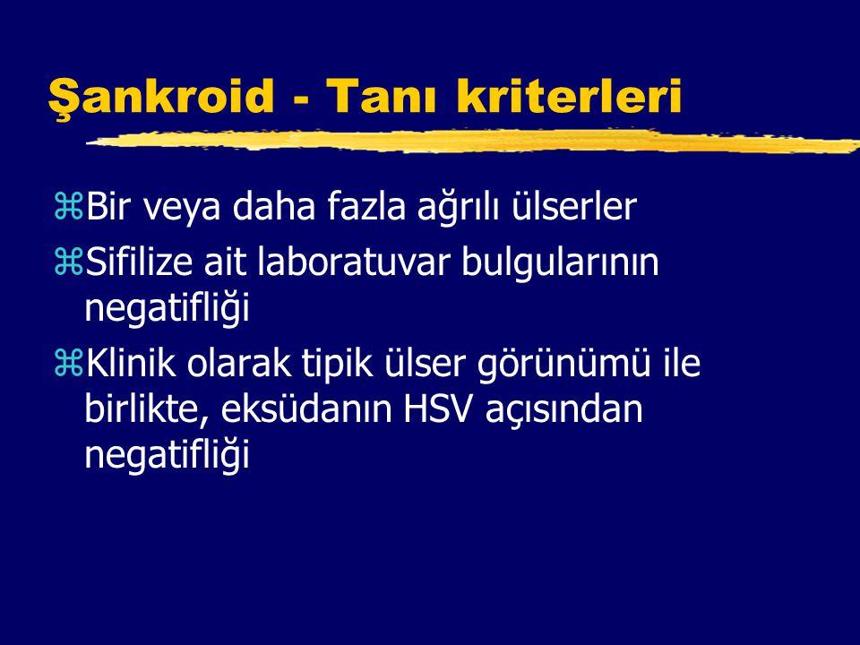 Şankroid - Tanı kriterleri zBir veya daha fazla ağrılı ülserler zSifilize ait laboratuvar bulgularının negatifliği zKlinik olarak tipik ülser görünümü ile birlikte, eksüdanın HSV açısından negatifliği