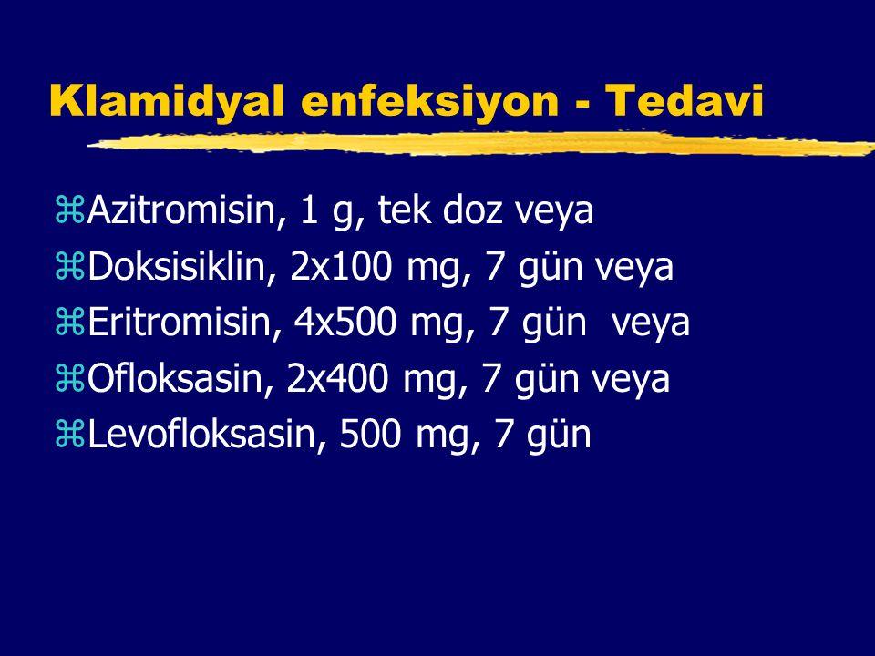 Klamidyal enfeksiyon - Tedavi zAzitromisin, 1 g, tek doz veya zDoksisiklin, 2x100 mg, 7 gün veya zEritromisin, 4x500 mg, 7 gün veya zOfloksasin, 2x400 mg, 7 gün veya zLevofloksasin, 500 mg, 7 gün