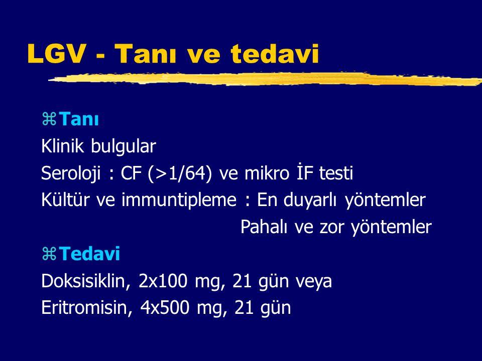 LGV - Tanı ve tedavi zTanı Klinik bulgular Seroloji : CF (>1/64) ve mikro İF testi Kültür ve immuntipleme : En duyarlı yöntemler Pahalı ve zor yöntemler zTedavi Doksisiklin, 2x100 mg, 21 gün veya Eritromisin, 4x500 mg, 21 gün