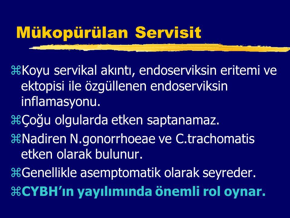 Mükopürülan Servisit zKoyu servikal akıntı, endoserviksin eritemi ve ektopisi ile özgüllenen endoserviksin inflamasyonu.