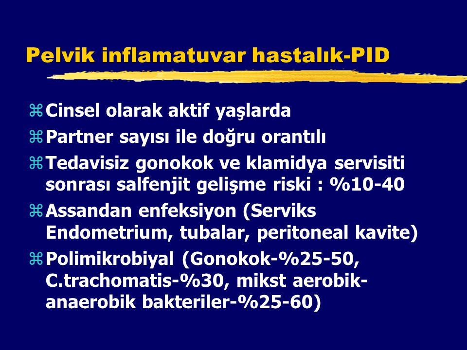 Pelvik inflamatuvar hastalık-PID zCinsel olarak aktif yaşlarda zPartner sayısı ile doğru orantılı zTedavisiz gonokok ve klamidya servisiti sonrası salfenjit gelişme riski : %10-40 zAssandan enfeksiyon (Serviks Endometrium, tubalar, peritoneal kavite) zPolimikrobiyal (Gonokok-%25-50, C.trachomatis-%30, mikst aerobik- anaerobik bakteriler-%25-60)