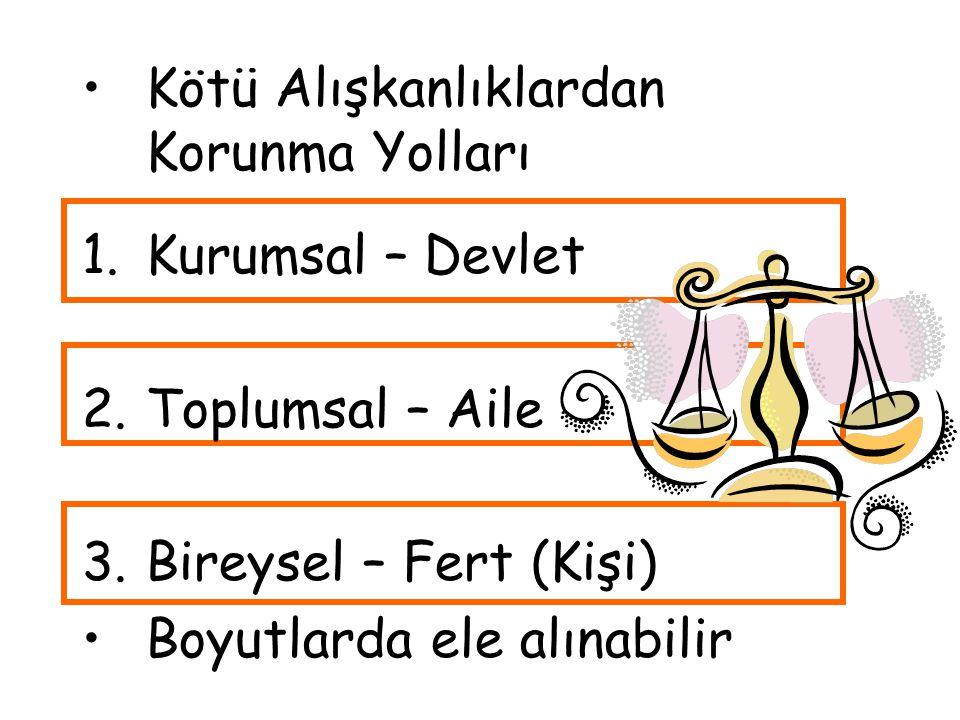 Kötü Alışkanlıklardan Korunma Yolları 1.Kurumsal – Devlet 2.Toplumsal – Aile 3.Bireysel – Fert (Kişi) Boyutlarda ele alınabilir