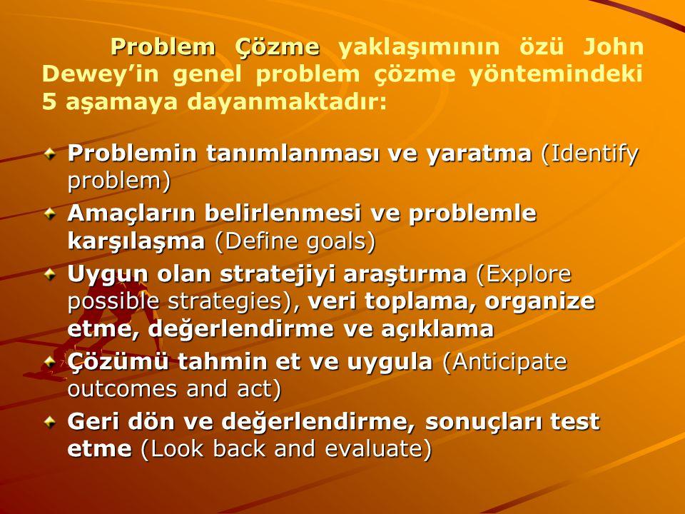 Problem Çözme Problem Çözme yaklaşımının özü John Dewey'in genel problem çözme yöntemindeki 5 aşamaya dayanmaktadır: Problemin tanımlanması ve yaratma