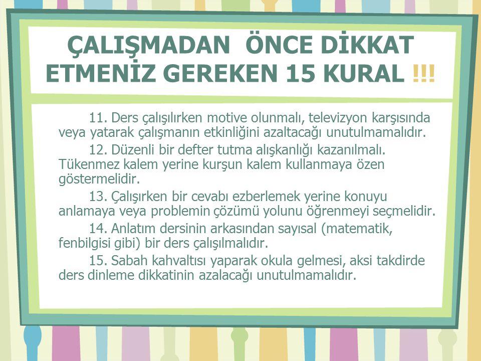 ÇALIŞMA ESNASINDA DİKKAT ETMENİZ GEREKEN 5 KURAL !!.