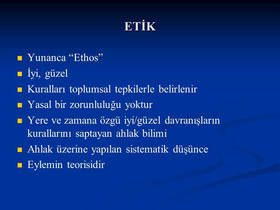 """ETİK Yunanca """"Ethos"""" İyi, güzel Kuralları toplumsal tepkilerle belirlenir Yasal bir zorunluluğu yoktur Yere ve zamana özgü iyi/güzel davranışların kur"""