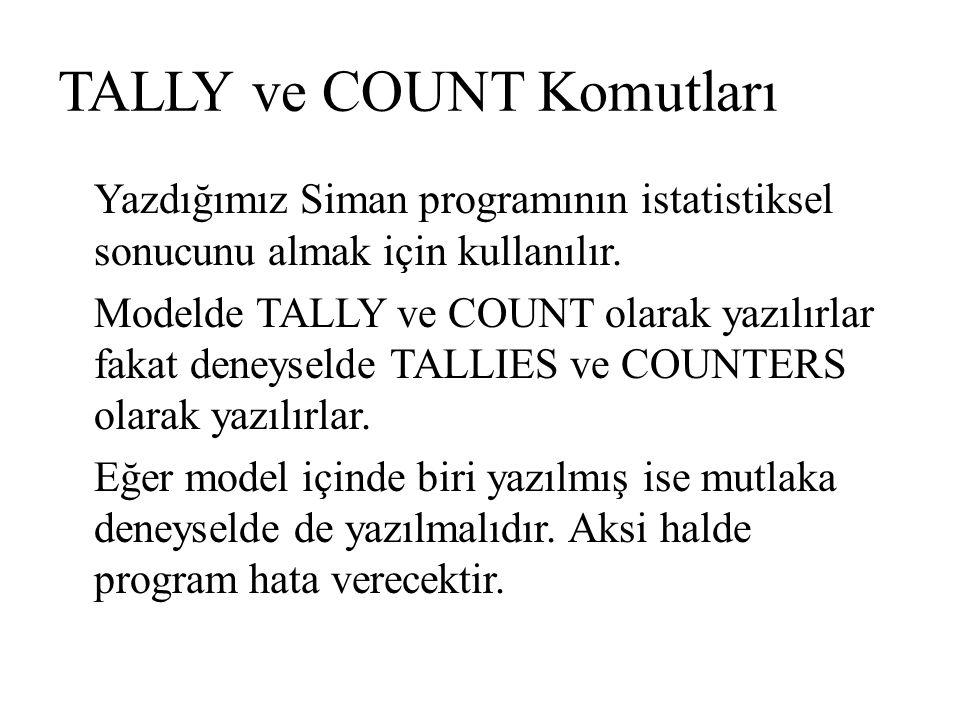 TALLY ve COUNT Komutları Yazdığımız Siman programının istatistiksel sonucunu almak için kullanılır. Modelde TALLY ve COUNT olarak yazılırlar fakat den