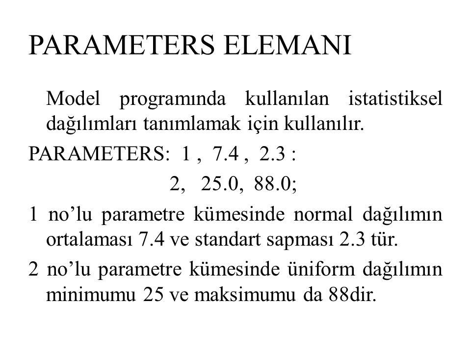 PARAMETERS ELEMANI Model programında kullanılan istatistiksel dağılımları tanımlamak için kullanılır. PARAMETERS: 1, 7.4, 2.3 : 2, 25.0, 88.0; 1 no'lu
