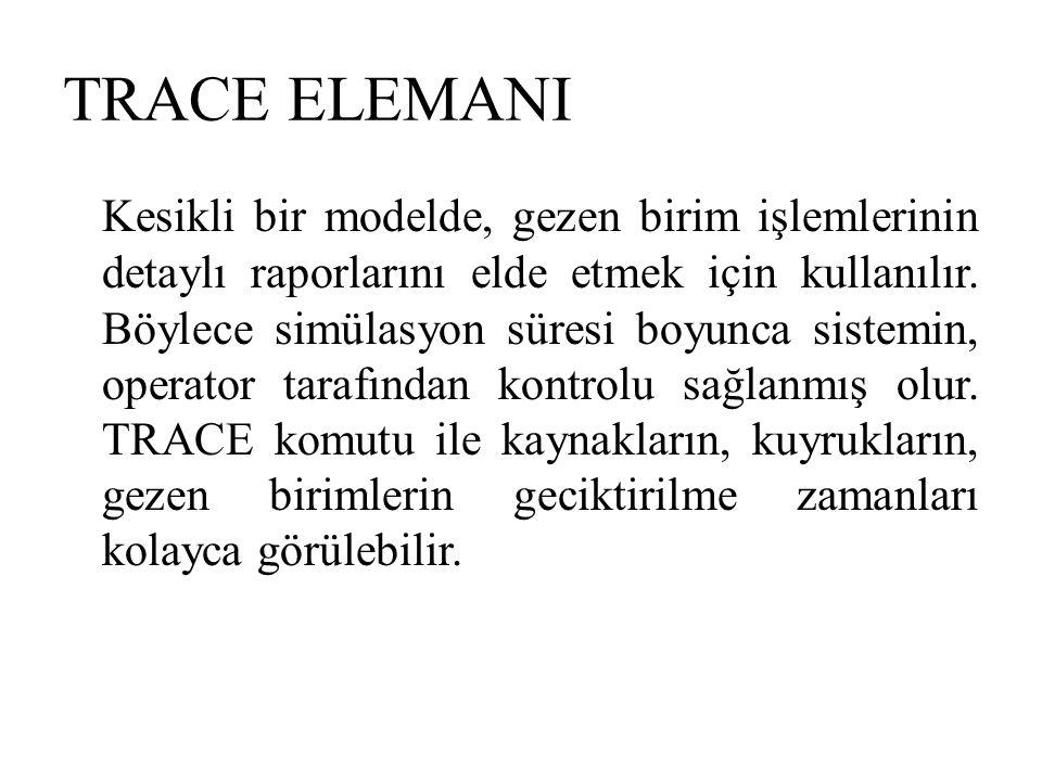 TRACE ELEMANI Kesikli bir modelde, gezen birim işlemlerinin detaylı raporlarını elde etmek için kullanılır. Böylece simülasyon süresi boyunca sistemin