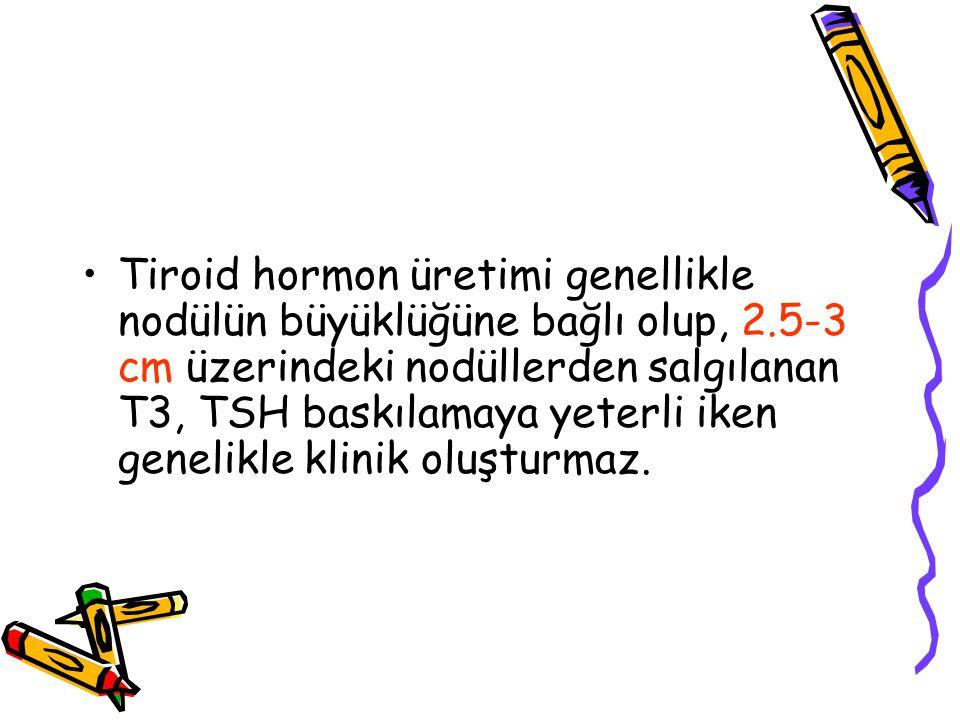 Tiroid hormon üretimi genellikle nodülün büyüklüğüne bağlı olup, 2.5-3 cm üzerindeki nodüllerden salgılanan T3, TSH baskılamaya yeterli iken genelikle