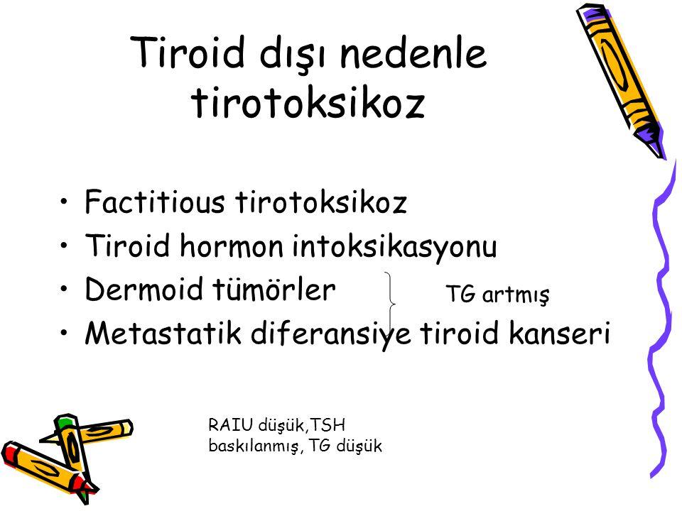 Tiroid dışı nedenle tirotoksikoz Factitious tirotoksikoz Tiroid hormon intoksikasyonu Dermoid tümörler Metastatik diferansiye tiroid kanseri RAIU düşü