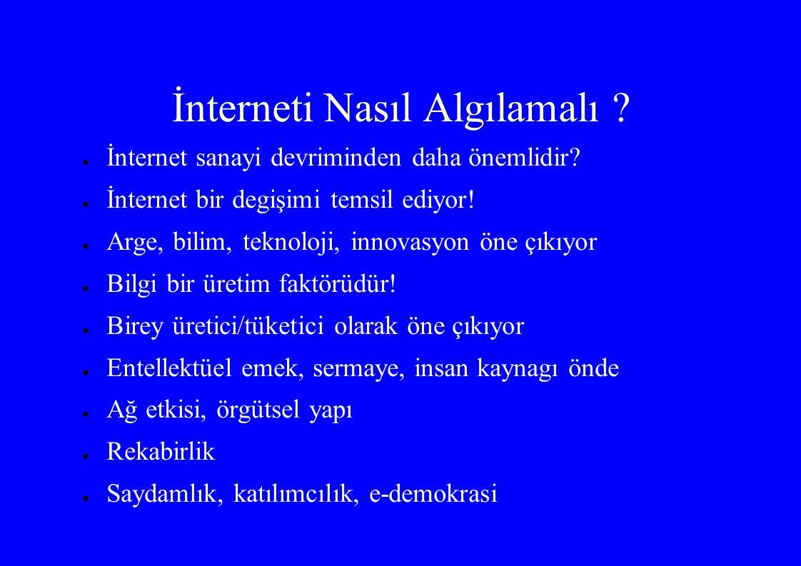 İnterneti Nasıl Algılamalı ? ● İnternet sanayi devriminden daha önemlidir? ● İnternet bir degişimi temsil ediyor! ● Arge, bilim, teknoloji, innovasyon