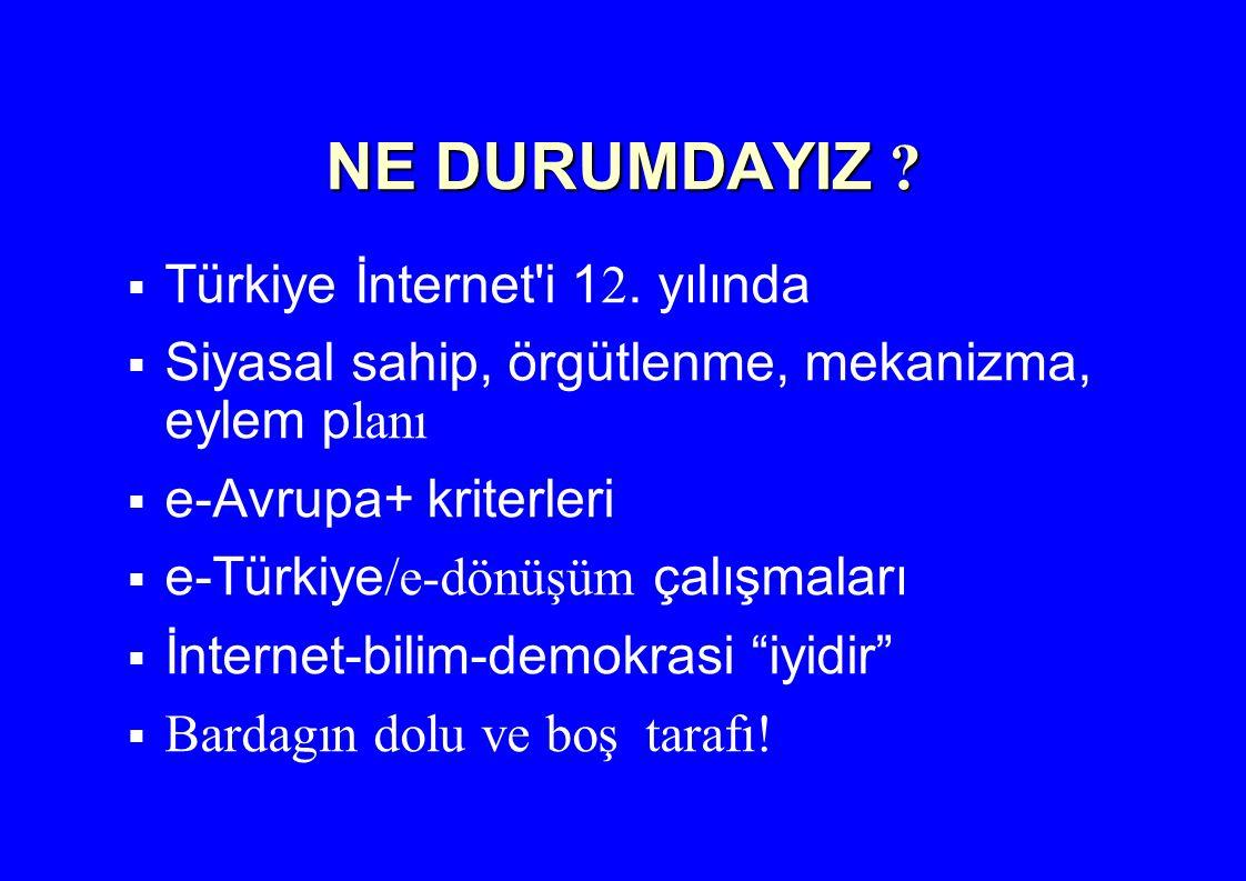 NE DURUMDAYIZ ?  Türkiye İnternet'i 1 2. yılında  Siyasal sahip, örgütlenme, mekanizma, eylem p lanı  e-Avrupa+ kriterleri  e-Türkiye /e-dönüşüm ç