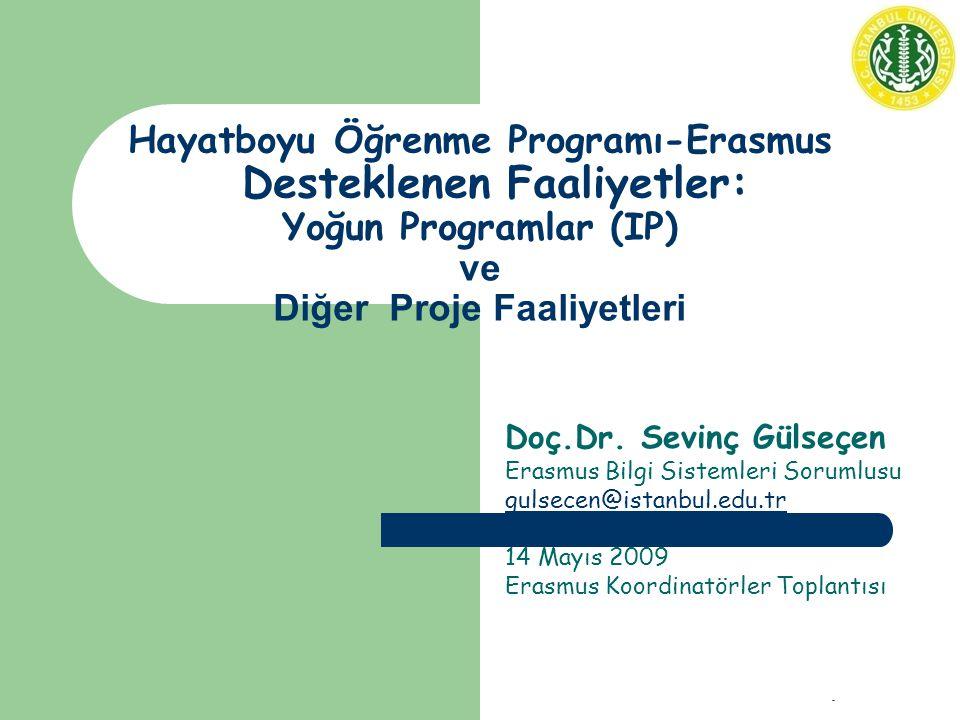 Koordinatörler Toplantısı - 14 Mayıs 2009 Hayatboyu Öğrenme Programı-Erasmus Desteklenen Faaliyetler: Yoğun Programlar (IP) ve Diğer Proje Faaliyetleri Doç.Dr.