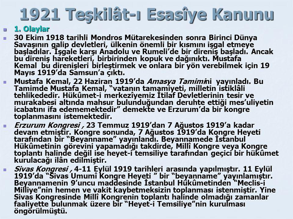 1921 Teşkilât-ı Esasîye Kanunu 1.Olaylar 1.