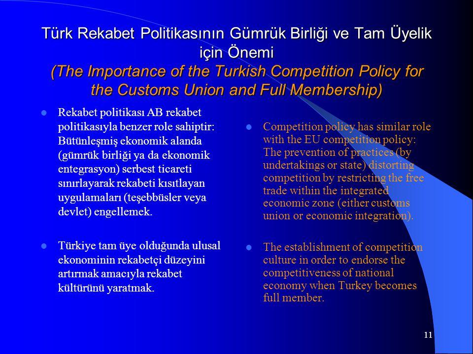 11 Türk Rekabet Politikasının Gümrük Birliği ve Tam Üyelik için Önemi (The Importance of the Turkish Competition Policy for the Customs Union and Full Membership) Rekabet politikası AB rekabet politikasıyla benzer role sahiptir: Bütünleşmiş ekonomik alanda (gümrük birliği ya da ekonomik entegrasyon) serbest ticareti sınırlayarak rekabeti kısıtlayan uygulamaları (teşebbüsler veya devlet) engellemek.