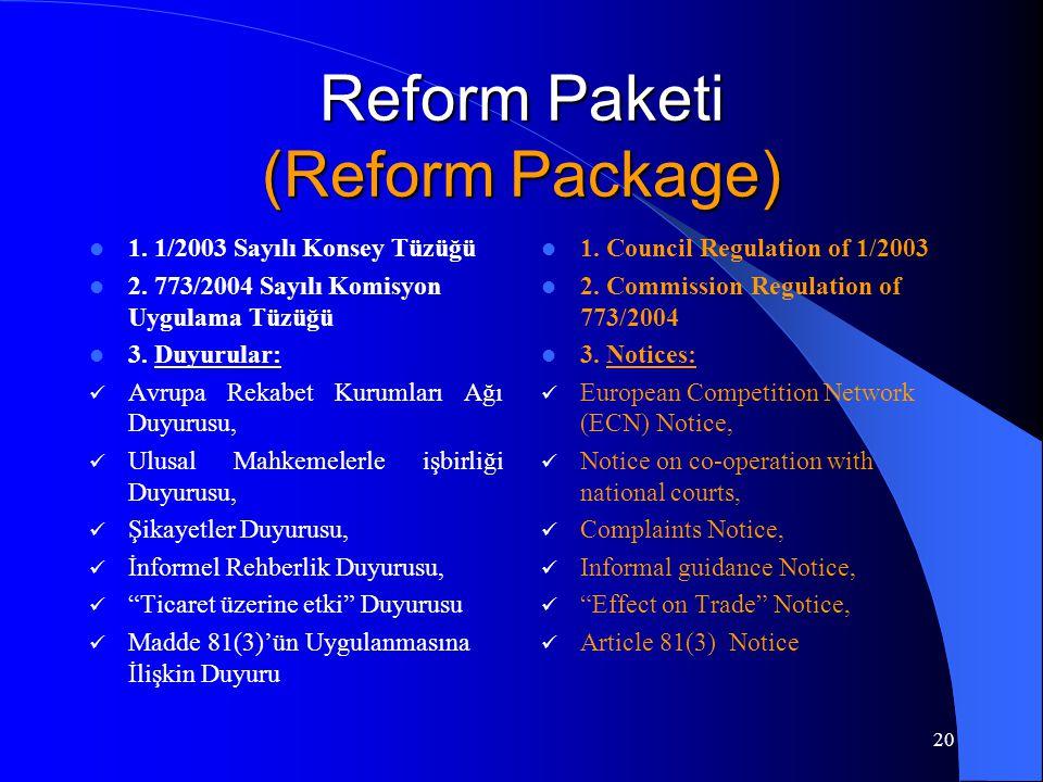 20 Reform Paketi (Reform Package) 1. 1/2003 Sayılı Konsey Tüzüğü 2.