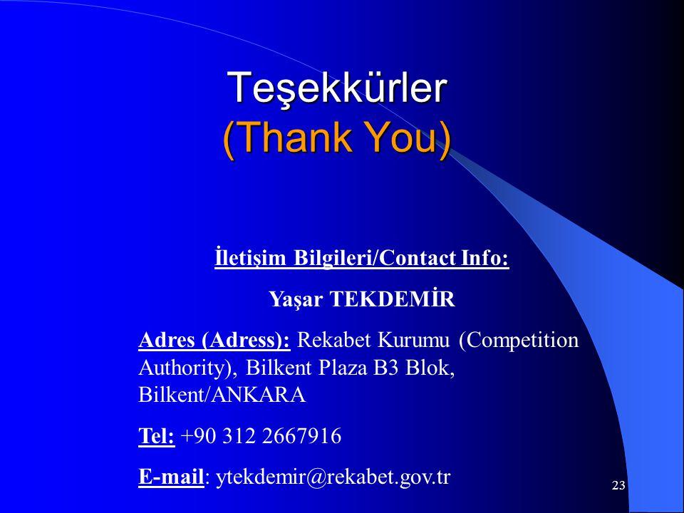 23 Teşekkürler (Thank You) İletişim Bilgileri/Contact Info: Yaşar TEKDEMİR Adres (Adress): Rekabet Kurumu (Competition Authority), Bilkent Plaza B3 Blok, Bilkent/ANKARA Tel: +90 312 2667916 E-mail: ytekdemir@rekabet.gov.tr