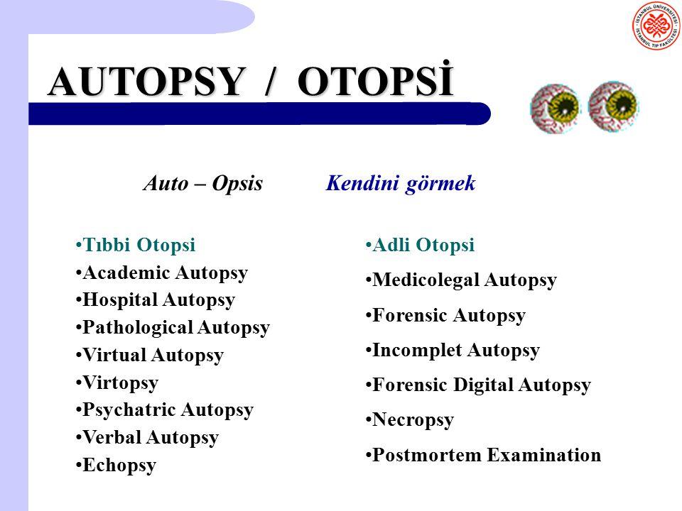 AUTOPSY / OTOPSİ Tıbbi Otopsi Academic Autopsy Hospital Autopsy Pathological Autopsy Virtual Autopsy Virtopsy Psychatric Autopsy Verbal Autopsy Echops