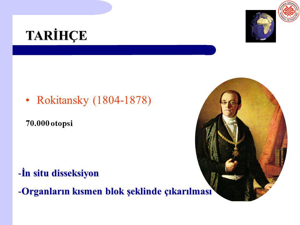 TARİHÇE Rokitansky (1804-1878) 70.000 otopsi -İn situ disseksiyon -Organların kısmen blok şeklinde çıkarılması