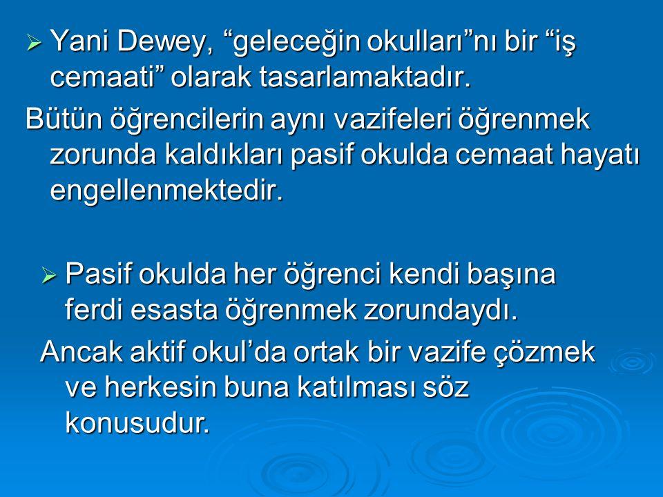 """ Yani Dewey, """"geleceğin okulları""""nı bir """"iş cemaati"""" olarak tasarlamaktadır. Bütün öğrencilerin aynı vazifeleri öğrenmek zorunda kaldıkları pasif oku"""
