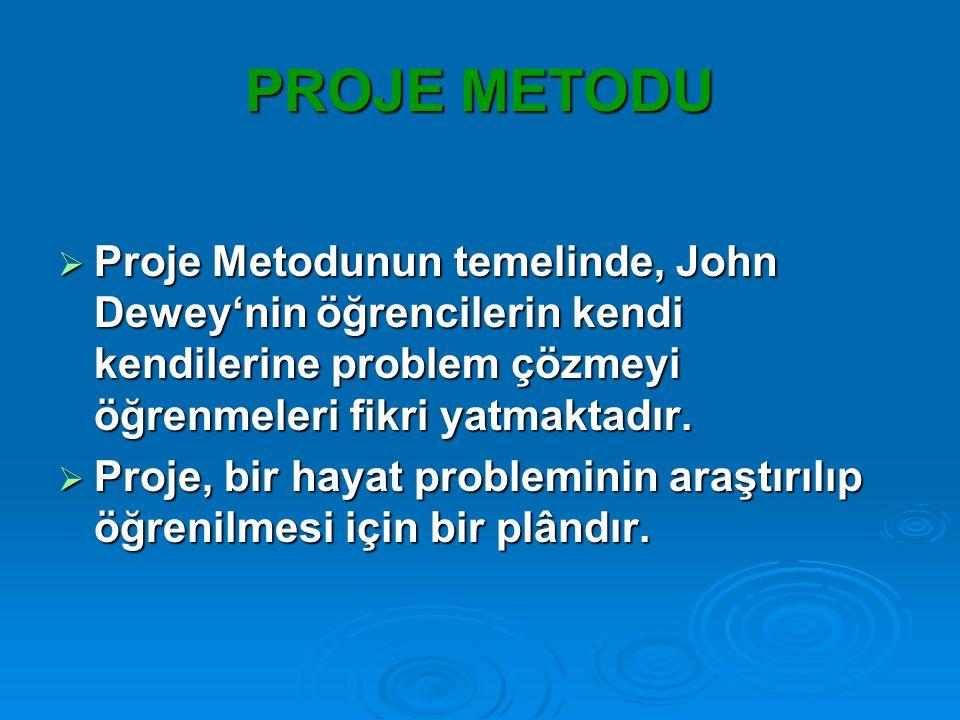 PROJE METODU  Proje Metodunun temelinde, John Dewey'nin öğrencilerin kendi kendilerine problem çözmeyi öğrenmeleri fikri yatmaktadır.  Proje, bir ha