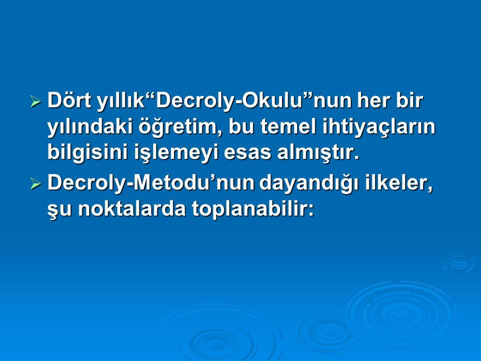 """ Dört yıllık""""Decroly-Okulu""""nun her bir yılındaki öğretim, bu temel ihtiyaçların bilgisini işlemeyi esas almıştır.  Decroly-Metodu'nun dayandığı ilke"""