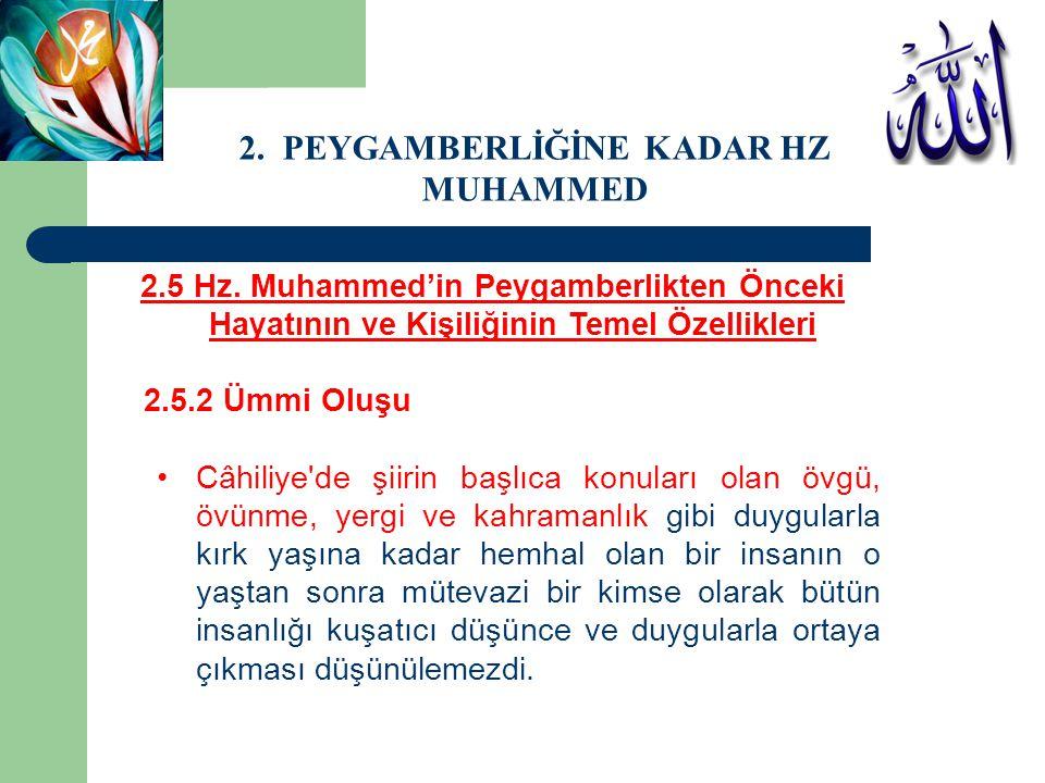 2.5 Hz. Muhammed'in Peygamberlikten Önceki Hayatının ve Kişiliğinin Temel Özellikleri 2.5.2 Ümmi Oluşu Câhiliye'de şiirin başlıca konuları olan övgü,