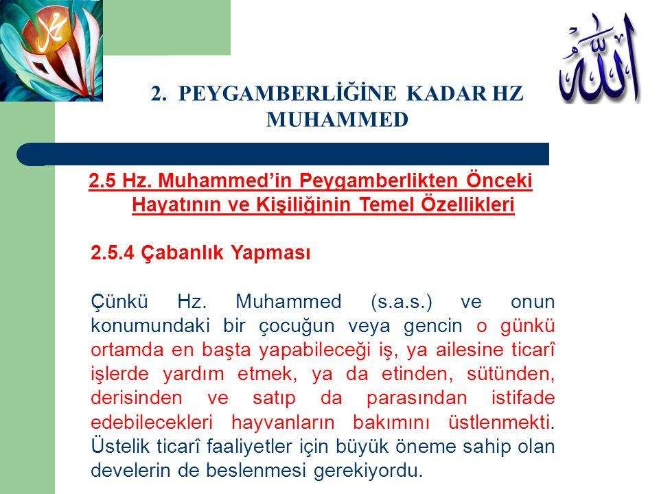 2.5 Hz. Muhammed'in Peygamberlikten Önceki Hayatının ve Kişiliğinin Temel Özellikleri 2.5.4 Çabanlık Yapması Çünkü Hz. Muhammed (s.a.s.) ve onun konum