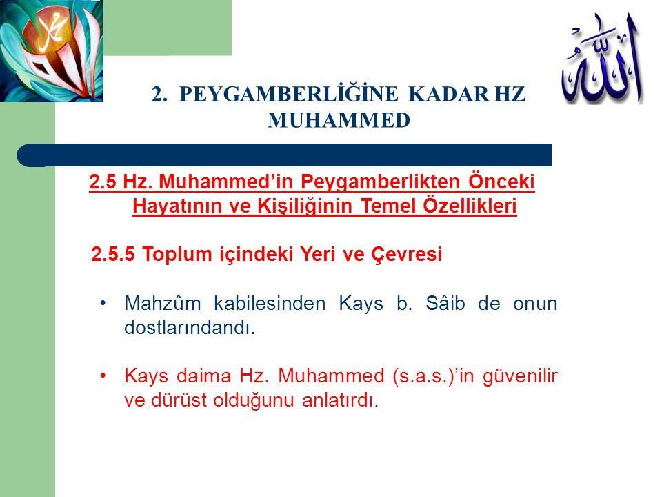 2.5 Hz. Muhammed'in Peygamberlikten Önceki Hayatının ve Kişiliğinin Temel Özellikleri 2.5.5 Toplum içindeki Yeri ve Çevresi Mahzûm kabilesinden Kays b
