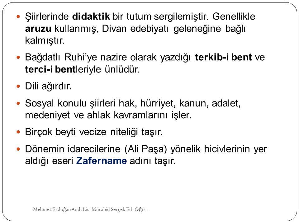 Mehmet Erdo ğ an And.Lis. Mücahid Serçek Ed. Ö ğ rt.